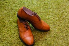 Brown Leather Lace Up Shoes Stock Photography