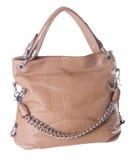 Brown leather ladies handbag Stock Photography