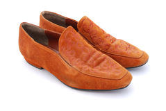Brown leather ladies shoes Stock Images