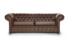 Brown leather Luxurious sofa. Isolated on white background, front view Royalty Free Stock Image
