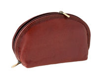 Brown leather makeup bag Royalty Free Stock Photo