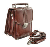 Brown leather mans bag on white background. Mans small brown leather bag over white Stock Photography