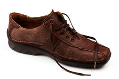 BROWN LEATHER MAN'S SHOES. On a white background Royalty Free Stock Photo