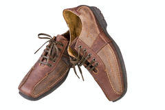 Brown leather man's shoes Stock Photos
