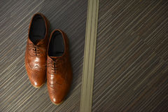 Brown leather man shoes Royalty Free Stock Photos