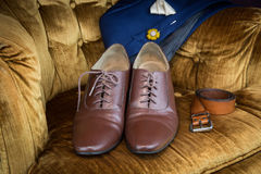 Brown leather medallion toe wholecuts shoes Stock Image