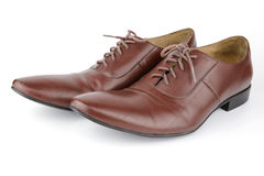 Brown leather medallion toe wholecuts shoes Royalty Free Stock Images
