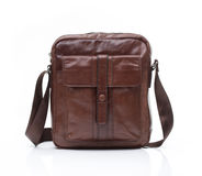 Brown leather men casual or business bag. Modern brown leather men casual or business briefcase isolated on white background Stock Photography