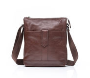 Brown leather men casual or business bag. Modern brown leather men casual or business messenger case isolated on white background Stock Image