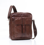 Brown leather men casual or business bag. Modern brown leather men casual or business messenger case isolated on white background Royalty Free Stock Photos