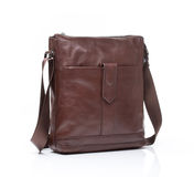Brown leather men casual or business bag. Modern brown leather men casual or business messenger case isolated on white background Stock Photo