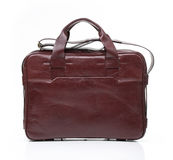 Brown leather men casual or business bag. Modern red brown leather men casual or business briefcase isolated on white background Stock Photo