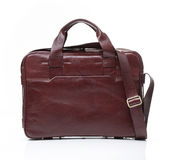 Brown leather men casual or business bag. Modern red brown leather men casual or business briefcase isolated on white background Royalty Free Stock Images