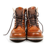 Brown leather men's boots isolated on white Royalty Free Stock Photography