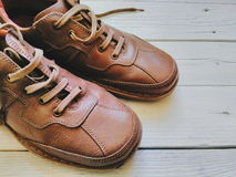 Brown leather men's shoes Stock Images