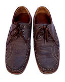 Brown leather mens shoes Stock Photos