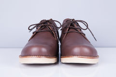 Brown leather men`s shoes Stock Images