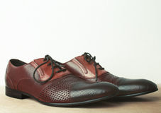 Brown leather men's shoes Royalty Free Stock Images