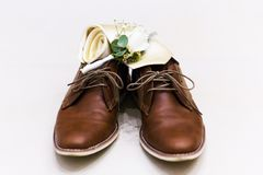 Brown leather men`s shoes Royalty Free Stock Images