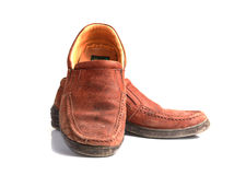 Brown leather men's shoes with wooden shoe stretchers on the sid. Stock Images