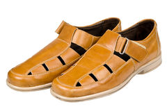 Brown leather men sandals Royalty Free Stock Photos