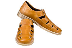 Brown leather men sandals Stock Photography