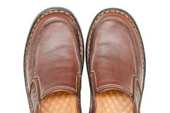 Brown leather men shoes Stock Images