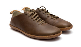 Brown Leather Men Shoes. Isolated on white background Stock Photo