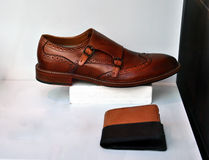 Brown leather men shoes Stock Photography