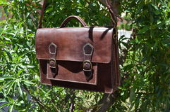Brown leather messenger bag Stock Image