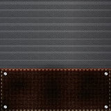 Brown leather and metal grid background Royalty Free Stock Photos
