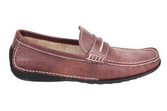 Brown leather moccasin Royalty Free Stock Image