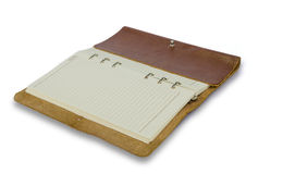 Brown leather notebook isolated on white background Royalty Free Stock Photography