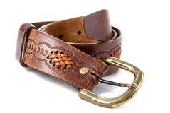 Brown leather old belt with decoration Stock Image
