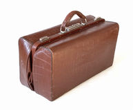 Brown leather old luggage bag Stock Photos