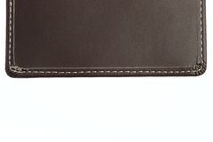Brown leather pattern with thread stitches Stock Photos
