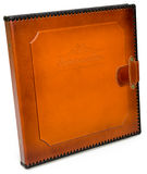 Brown leather photo album cover with decorative frame for text Stock Photography