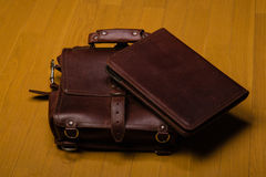 Brown Leather Portfolio and Satchel Stock Photography