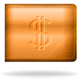 Brown leather pouh with dollar sign Stock Photography