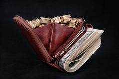 Brown leather purse full of coins and bank-paper Royalty Free Stock Image
