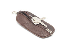 Brown leather purse for keys Royalty Free Stock Photos