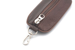 Brown leather purse for keys. Isolated on white background Royalty Free Stock Photos