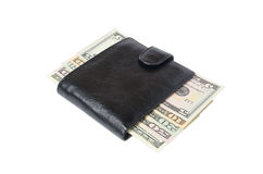 Purse with money. Brown leather purse with money lying on a white background Stock Image