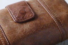 Brown leather purse wallet close up. Close up of a brown leather wallet or purse Stock Photography
