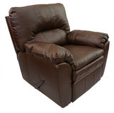 Brown Leather Recliner. Brown Overstuffed Rocker Recliner in Top Grain Leather Royalty Free Stock Images