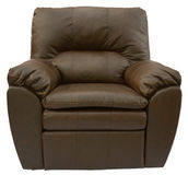 Brown Leather Recliner. Brown Overstuffed Rocker Recliner in Top Grain Leather Royalty Free Stock Photo