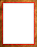 Brown leather & red border. Worn brown leather with red & gold border frame with empty white space for text Stock Photos