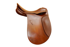 Brown leather saddle Stock Images