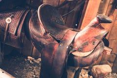 Brown Leather Saddle Stock Photos