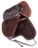 Brown leather safety cap. For work Royalty Free Stock Photos